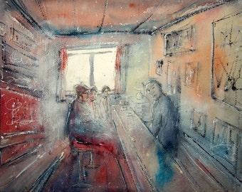 Original watercolor of people in a bar