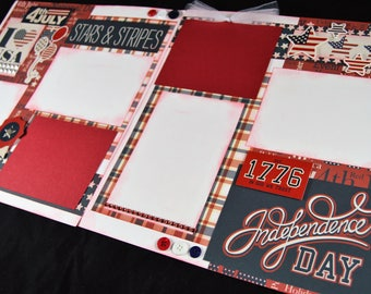 12X12 Fourth of July Scrapbook Page Kit, Premade Scrapbook Page, July 4th Scrapbook Page, Scrapbook Premade Page, 12X12 Scrapbook Layout