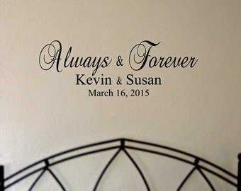 Always & Forever personalized with names and date vinyl wall decal
