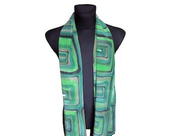 Mens green scarf - Men silk scarf - Men spring scarf - Men accessories - Mens fashion scarf - Men summer scarf - Suit scarf - Men gifts
