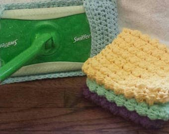 Crochet Swiffer Cover, Reusable Swiffer Cover, Crochet Dust Mop Cover,