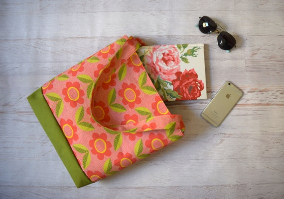 Pink and Green Floral Tote Bag, Colorbock Tote with Organic Cotton and Canvas. Snap Close, Interior Pocket Womens Tote with Flat Bottom.