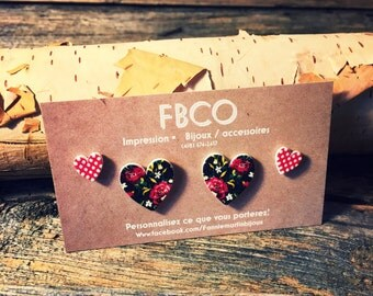 Duo BIG LOVE / two pairs of earrings in heart