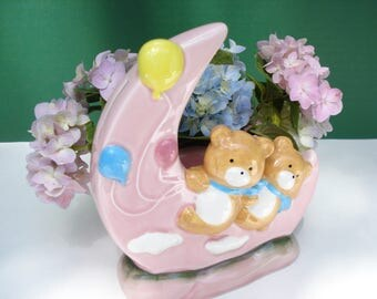 Vintage Pink Moon and Bears Bank - Planter by LUV Imports - Made in Japan