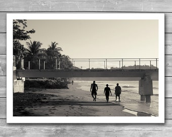 Ocean Coast, Sandy Beach, Morning, Photo Print, Black and White Photography, Beach Print, Photo Poster, BW Photo Print, Sepia Photo, Travel