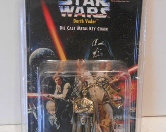 Star Wars Darth Vader Die Cast Metal Key Chain 1996 MIP.