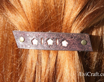 Handmade Leather French hair barrette, Leather Hair clip, women Hair Accessory, flowers dark purple and pink leather hair accessory, bubbles