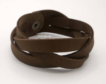 Mystery Braid 25 mm nubuck brown Leather braided bracelet, leather cuff, hand band, gift for men wristband, leather jewellery