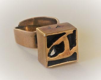 Vintage Modernist Esa Lukala, Finland. Bronze ring.