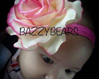 Rose headband, rose baby headband, baby headband, pink rose headband, newborn headband, pink baby headband, birthday headband, yellow rose