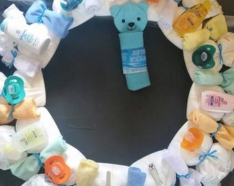 Baby Boy Diaper Wreath
