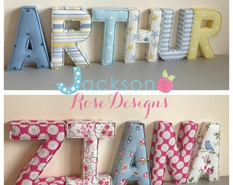Gorgeous padded fabric name sets, bedrooms, nurseries, new baby gift