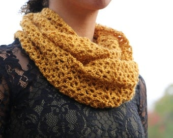 Crochet Scarf, Mustard Yellow Scarf, Infinity Scarf, Womens Scarf, Fall/Winter Scarf, Crochet Infinity Scarf