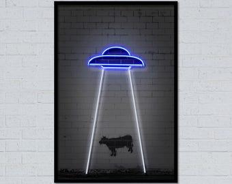 Ufo art ufo poster space art space poster cow art animal art neon art neon sign alien art street art stencil art graffiti art home decor