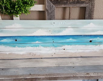 Ocean Seaside Beach Waves Pallet Art Painting Barnwood Recycled