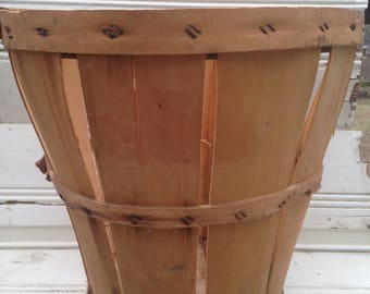 vintage orchard basket, wooden basket, splint wood basket