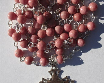 Rosary No. 52 Pink Rhodonite in Silver-Filled