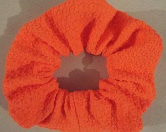 Coral textured jersey hair scrunchie