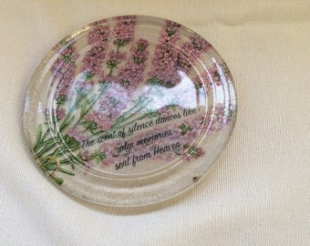 Hand decorated glass coaster/candle stand by Jannietta