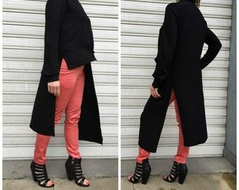 Black Asymmetrical Shirt Dress / Long Sleeves Tunic Dress / Loose Maxi Blouse / Oversize Extravagant Top / EXPRESS SHIPPING