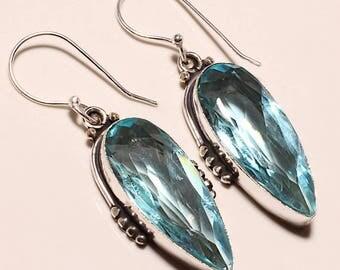 Aqua blue topaz 925 sterling silver earrings