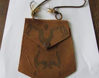 Vintage Small Leather Purse Mission Arts & Crafts Era  Handbag  Soft