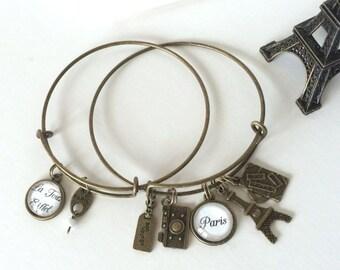 Paris Travel Trip Eiffel Tower Expandable Bangle Charm Bracelet Set Bronze/ Antique Gold Tone
