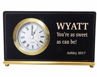 Engraved Birthday Desk Clock Gift for Husband, Personalized Valentine Gift for Him, Custom Anniversary Clock , LCH008