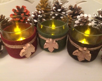 3 Maple Leaf Autumn candle holders ~ Christmas ~ Halloween ~ Mabon ~ Wicca ~ Pagan ~ Festival ~ Decorations ~ October