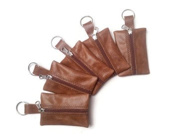 Leather Keychain Pouch. Small Coin Purse. Key Ring. Change Holder with Key Ring. Handmade. Brown Zipper Coin Purse. Gift ideas Brown Leather