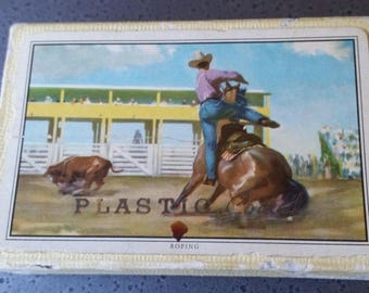 """1950s Western Playing Cards - Rodeo Calf Roping Scene - """"Plastic Coated"""""""