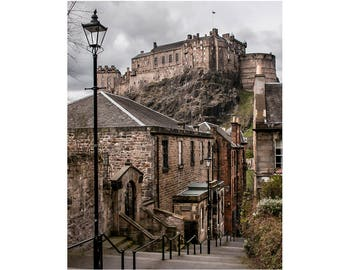 "Edinburgh Photography, Historic City, Scotland Photography, Medieval City, Fine Art Print, ""Edinburgh Castle from The Vennel Steps, Color"""