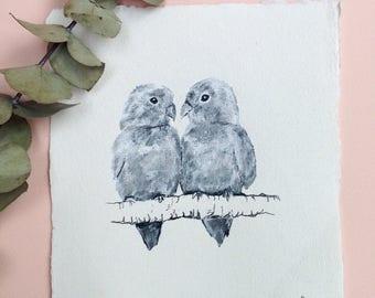 Lovebirds, Original Ink Drawing