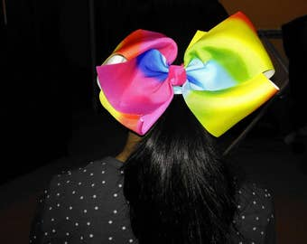 Jojo Bow, Jojo Siwa Inspired Handmade Large 8 Inch Rainbow Hair Bow on Metal Alligator: perfect for dance classes, parties & casual wear