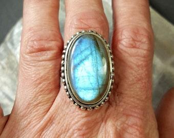 Blue Labradorite Statement Ring - Size 7.5