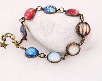 Planet bracelet Solar system bracelet Space Bracelet Solar System Jewelry Nebula bracelet Venus Bracelet Space Jewelry Gift for her cosmic