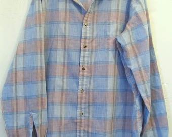 A Men's Vintage 80's,Long Sleeve,Blue &Pink PASTEL Plaid Shirt By CAMBRIDGE.XL(Tall)