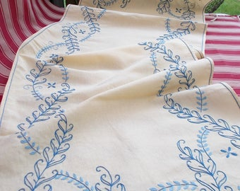 Hand Embroidered Cotton Table Runner, Cream Cotton Table Cloth with Blue Hand Embroidery.