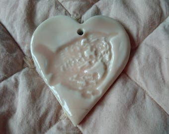 Porcelain Hanging Heart with decorative Wren