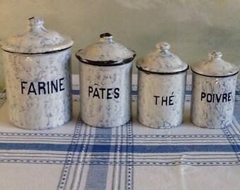 Set of vintage French enamel cannisters. Blue and white kitchen storage jars. Shabby chic kitchen decor. 1950's storage pots.
