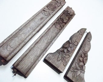 Carved French vintage oak wood trim/ supports, architectural salvage furniture, ornately hand crafted trim, shelf brackets, trim