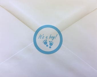 20 Its A Boy Baby Shower Envelope Seals, Stickers, Labels