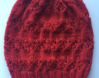 HandKnit Red Slouchy Beanie Stocking Cap Lace