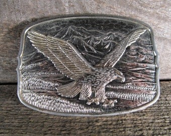 Belt Buckle, American Eagle with Talons Extended, Mountains in Background, Retro Fashion Accessory, Vintage Collectible, Western Apparel