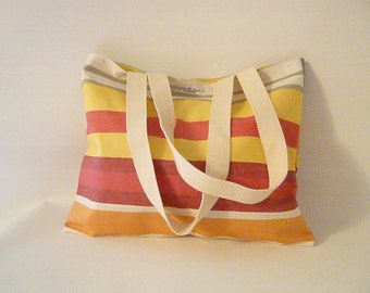 coated cotton bag striped bayadères
