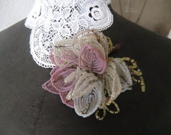 Vintage antique beads flower flower handmade monastery work altar flower patina french shabby chic style JDL