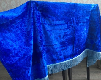 Vintage Velvet Fabric, vintage piece textile, Blue velvet fabric, Accessories, clothing, Doll clothes, piece of fabric, for tailoring toys