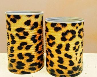 2 Leopard decorative pencil holders/dorm decor/brush holders/desk accessories/office organization/classroom decor/gift for teachers