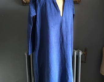 Antique French linen smock chemise nightshirt dyed Marine Blue size M 42 inch chest