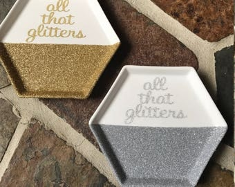 Glitter Dipped Jewelry Tray